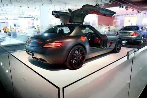 Mercedes SLS AMG painted in designo magno Night Black